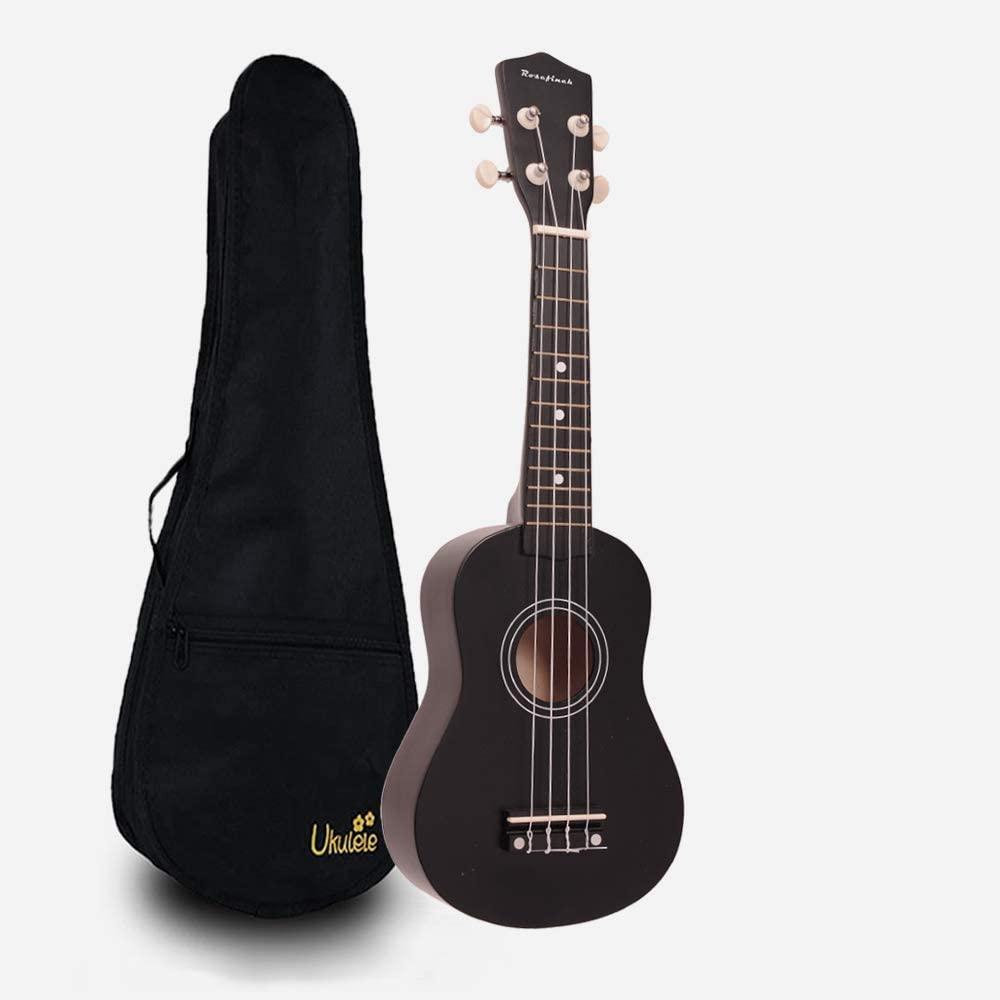 Soprano Ukulele Rosefinch Wooden Uke Hawaii Guitar 21 inch Basswood Ukulele with Bag for Beginner Kids Students(Black)