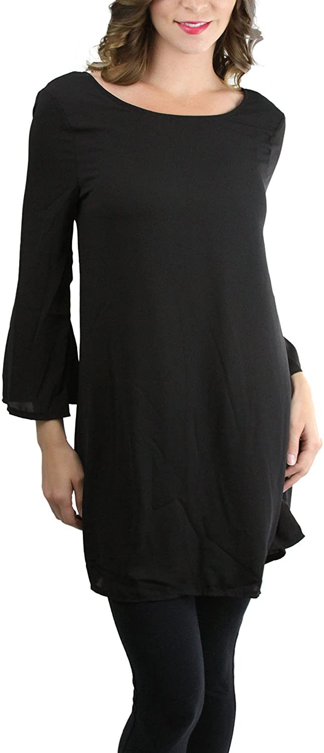 ToBeInStyle Womens 3/4 Bell Sleeve T-Back Detail Dress