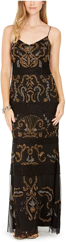 Adrianna Papell Womens Black Beaded Spaghetti Strap Scoop Neck Full-Length Sheath Cocktail Dress Size 12
