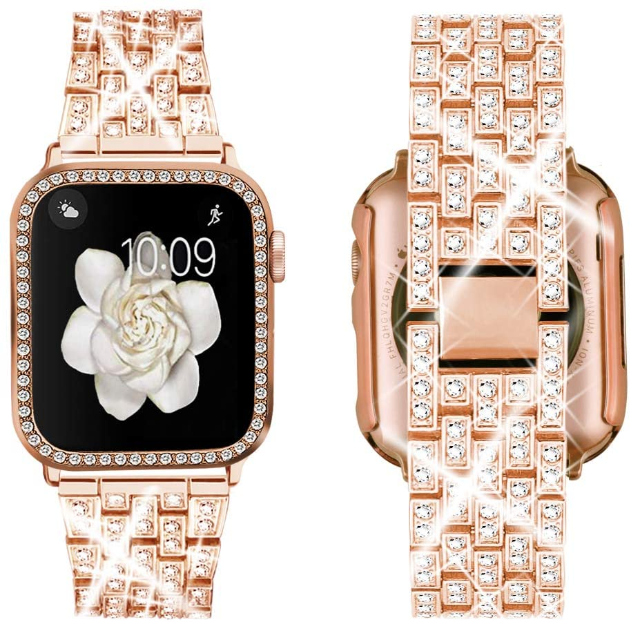 Supoix Compatible with Apple Watch Band 38mm 40mm 42mm 44mm + Case, Women Jewelry Bling Diamond Replacement Metal Strap & Soft PC Bumper Protective Case for iWatch Series 5/4/3/2/1(Rose Gold)