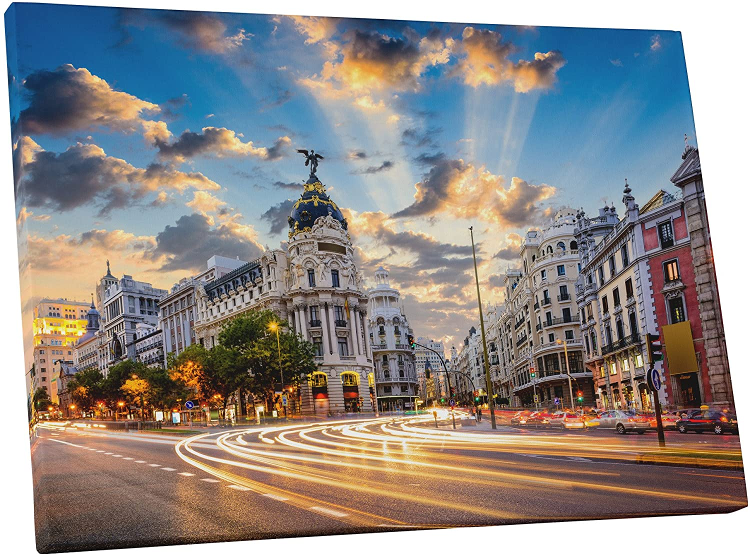 Pingo World 0901Q30DMDY Madrid City Center Skyline II Gallery Wrapped Canvas Wall Art Print (30 x 20), Variable