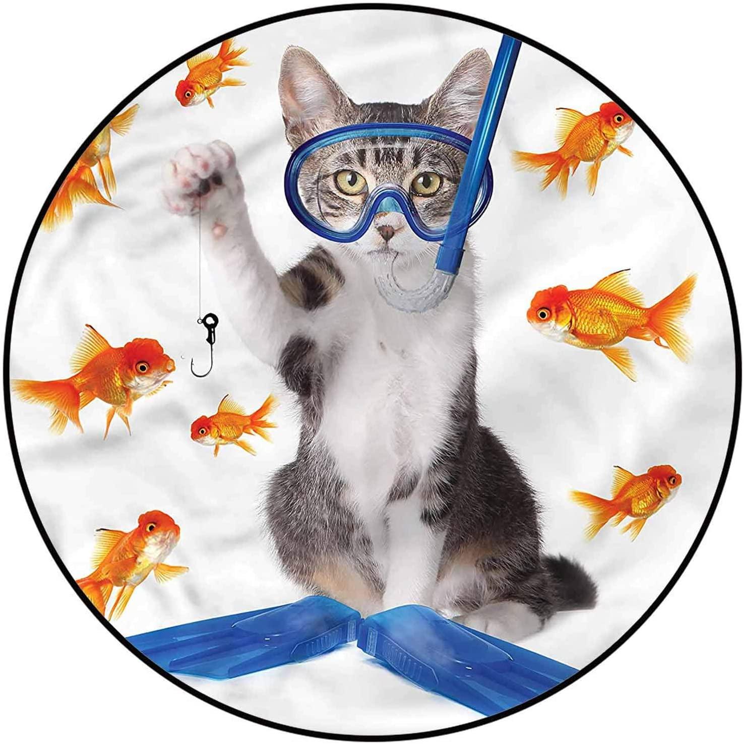 Cat Outdoor Patio Rug 6 Ft, Humorous Goldfish Fishing Theme Custom Rug