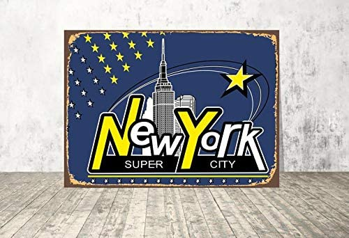 yyone Metal Signs Vintage -New York Sign Empire State Building Print Wall Art Sign for Kitchen Bedroom Bathroom Bar Wall Sign 12 X 16 inch