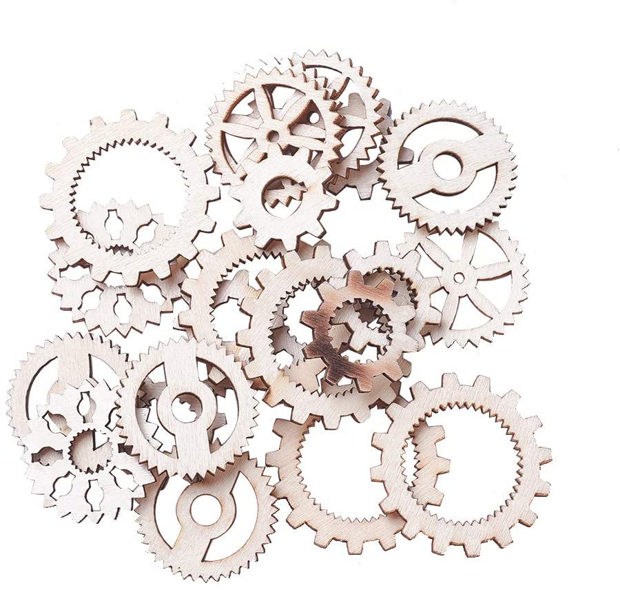 PH PandaHall 100pcs Hollow Gear Wood Pendants Charms Wooden Clock Watch Wheel Decoration Gift Tags DIY Painting Crafts for Crafts Scrapbooking Supplies