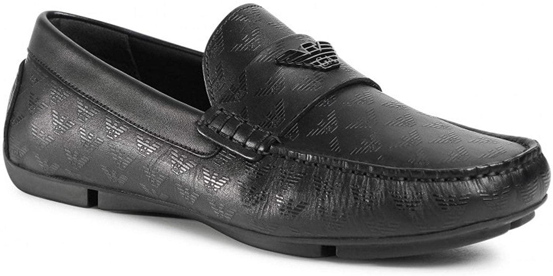 Emporio Armani Black Leather Logo Slip On Loafer Shoes X4B124 XM548 7(41)