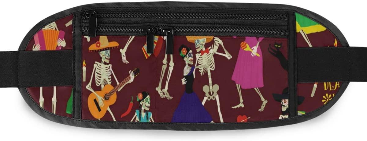 SLHFPX Halloween Skull Music Party Hidden Money Belt,Fanny Pack,Running Belt,Travel Wallet Pouch,Wasit Packs Bag,Passport Holder,Bum Bag,Belt Bags for Women Men