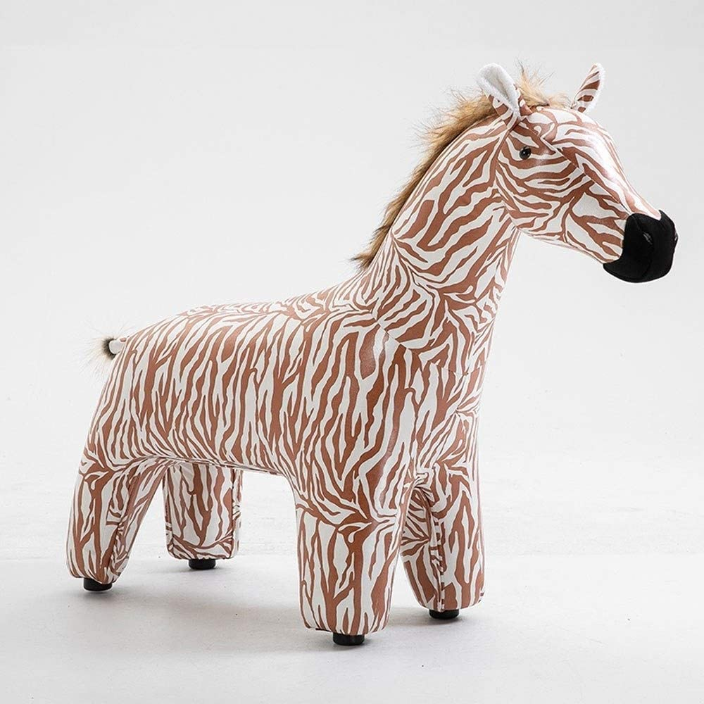 WJXBoos Zebra Footstool Animal Ottoman Soft Cushion Pouffe Stool Rest Seat for Kids or Adults F0107 (Color : Red)