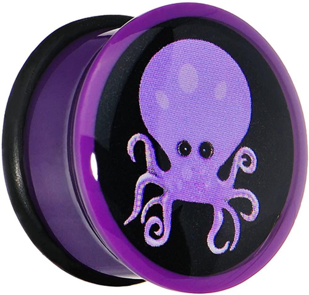Body Candy 18mm Purple Acrylic Octopus Ear Gauge Plug (1 Piece)