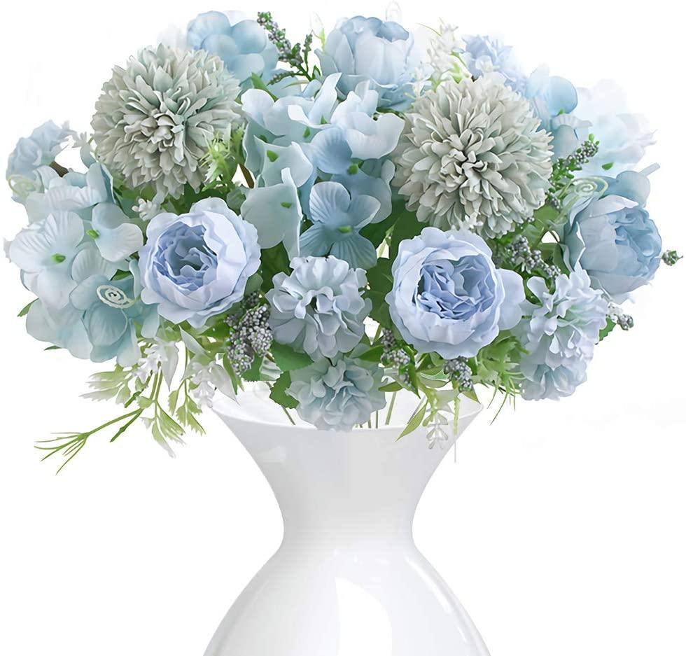 2 Pack Blue Artificial Flower Fake Peony Silk Bulk Hydrangea Carnation Daisy Realistic Flowers Home Arrangement Wedding Layout Site Center Decoration
