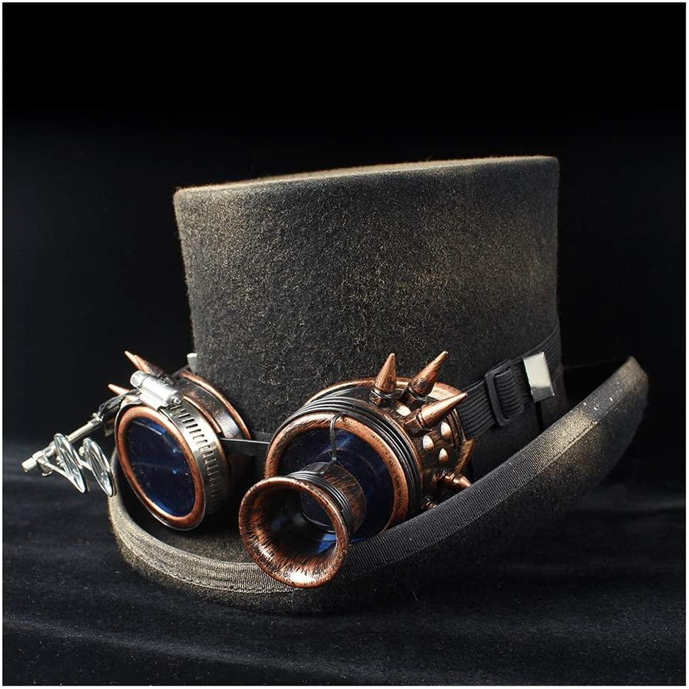 WANGXINQUAN Retro Women Men Steampunk Top Hat 100% Wool Gear Glasses Topper Fedora Hat Magician Shower Party Hat (Color : Black, Size : 61CM)