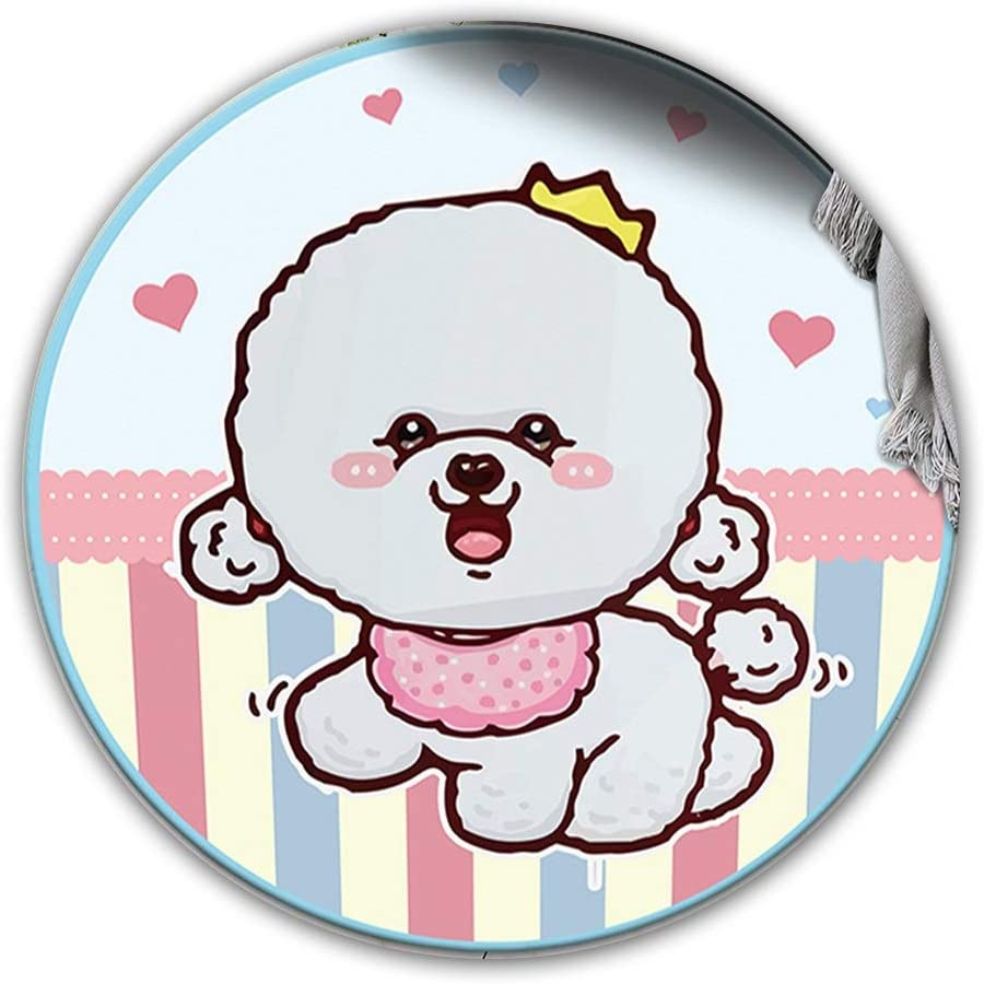 Soft Crystal Velvet Area Rug, Round Non-Slip Rug with Cartoon Pet Bichon Frise, Suitable for Living Room and Bedroom Z-2020-7-23 (Size : 120x120cm)
