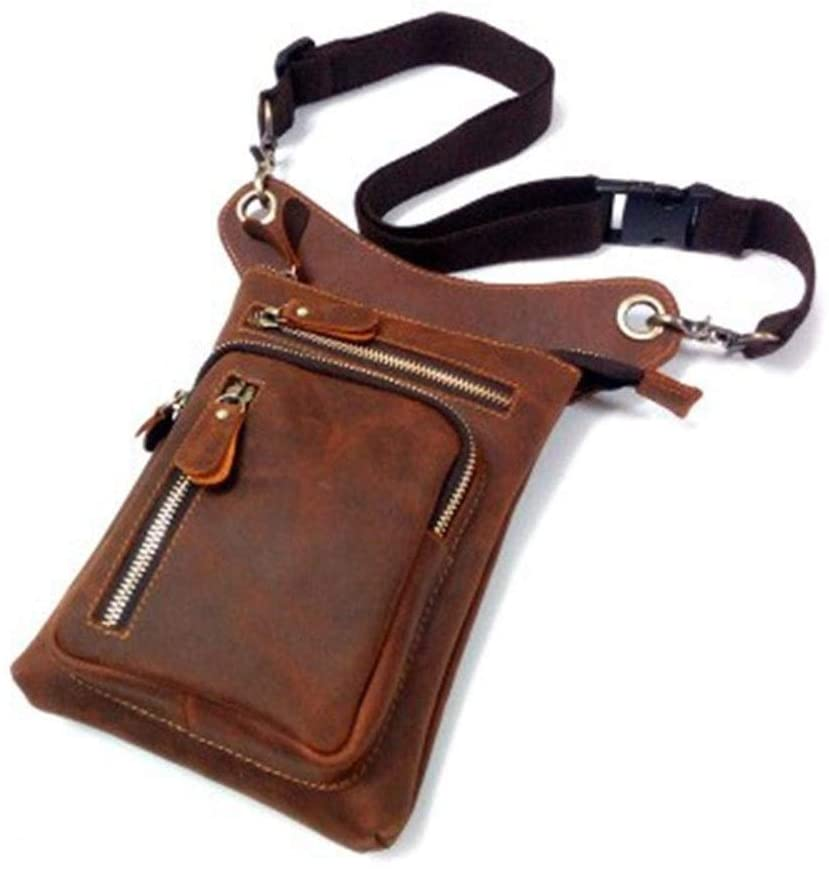 MING-MCZ Fashion Genuine Leather Messenger Crossbody Shoulder Bags for Men Travel Belt Fanny Pack Motorcycle Thigh Drop Leg Bag Male Waist Bags Durable (Color : Red Brown, Size : S)