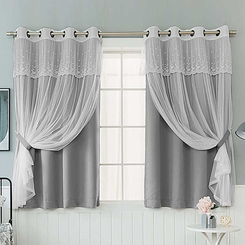 YOLI Sheer Curtains+Blackout Curtains, Korean Princess Style Lace Curtains for Living Room Floor Screen Children's Bedroom Window Treatments-Gray 250x270cm(98x106inch)