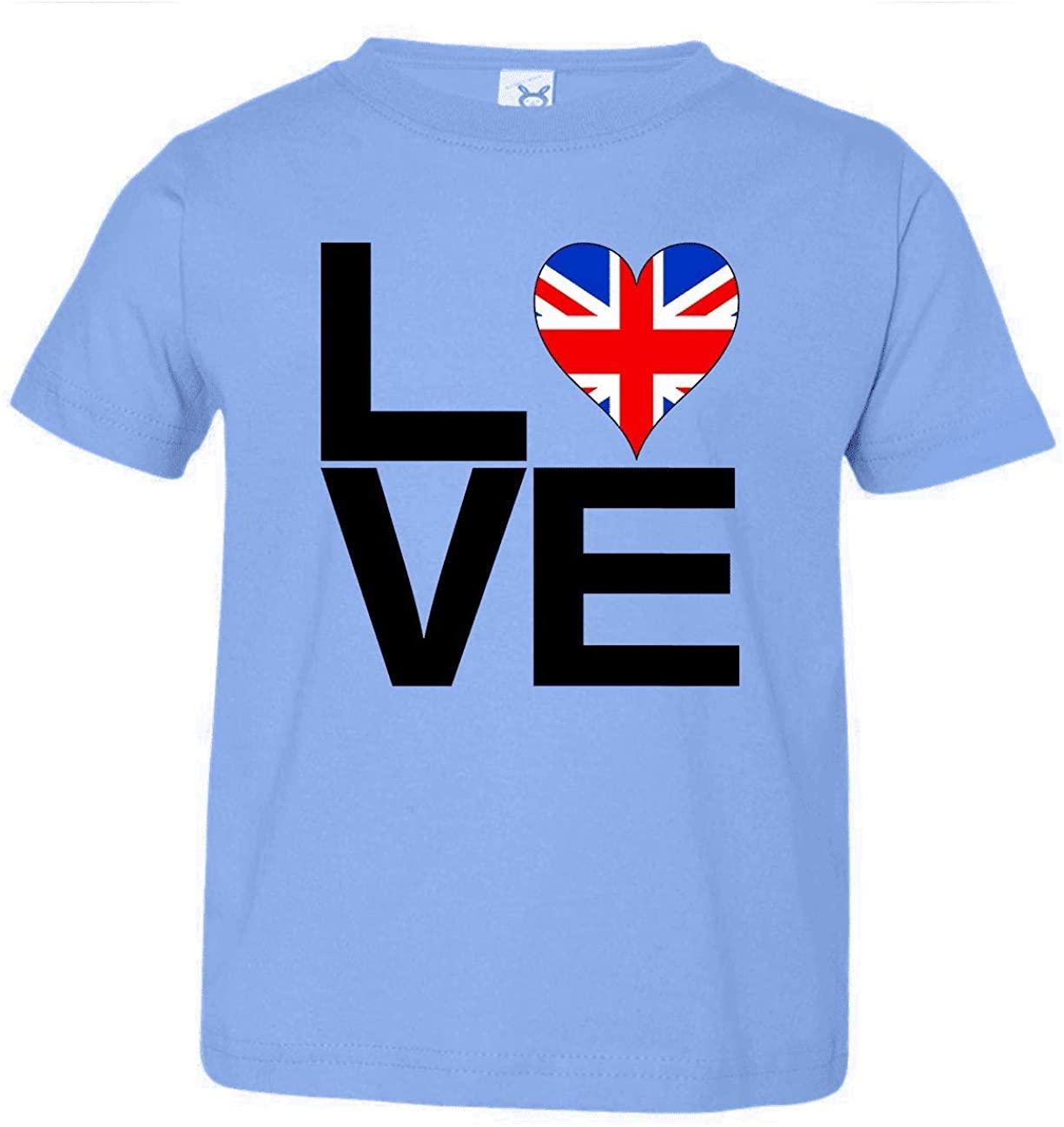 HARD EDGE DESIGN Toddler's Love Block United Kingdom Heart T-Shirt, 2T, Carolina Blue