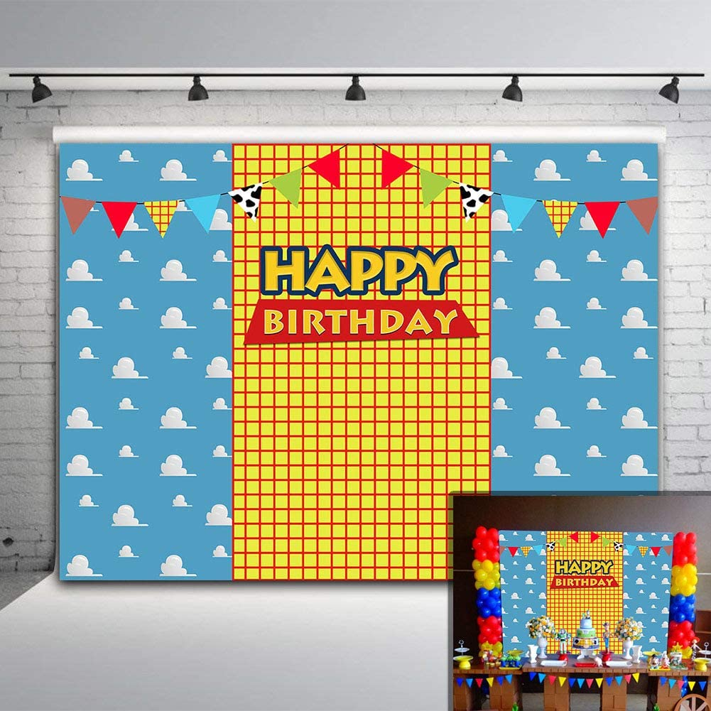 Photography Backdrop for Baby Kids 1st Happy Birthday Party Supplies Vinyl Toy Blue Sky Yellow Grid Boys Story Photo Background Western Cowboy Banner 7x5ft Photo Booth Studio Props Cake Table