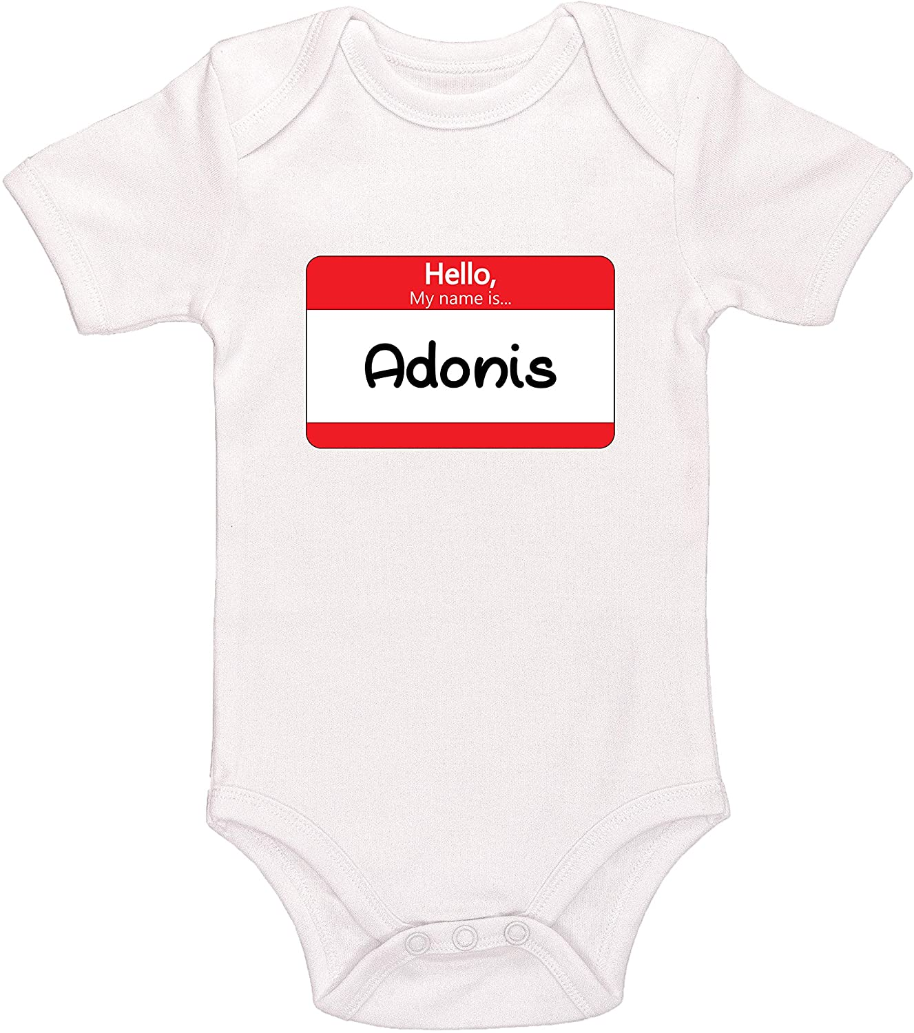 Kinacle Hello My Name is Adonis Personalized Baby Bodysuit