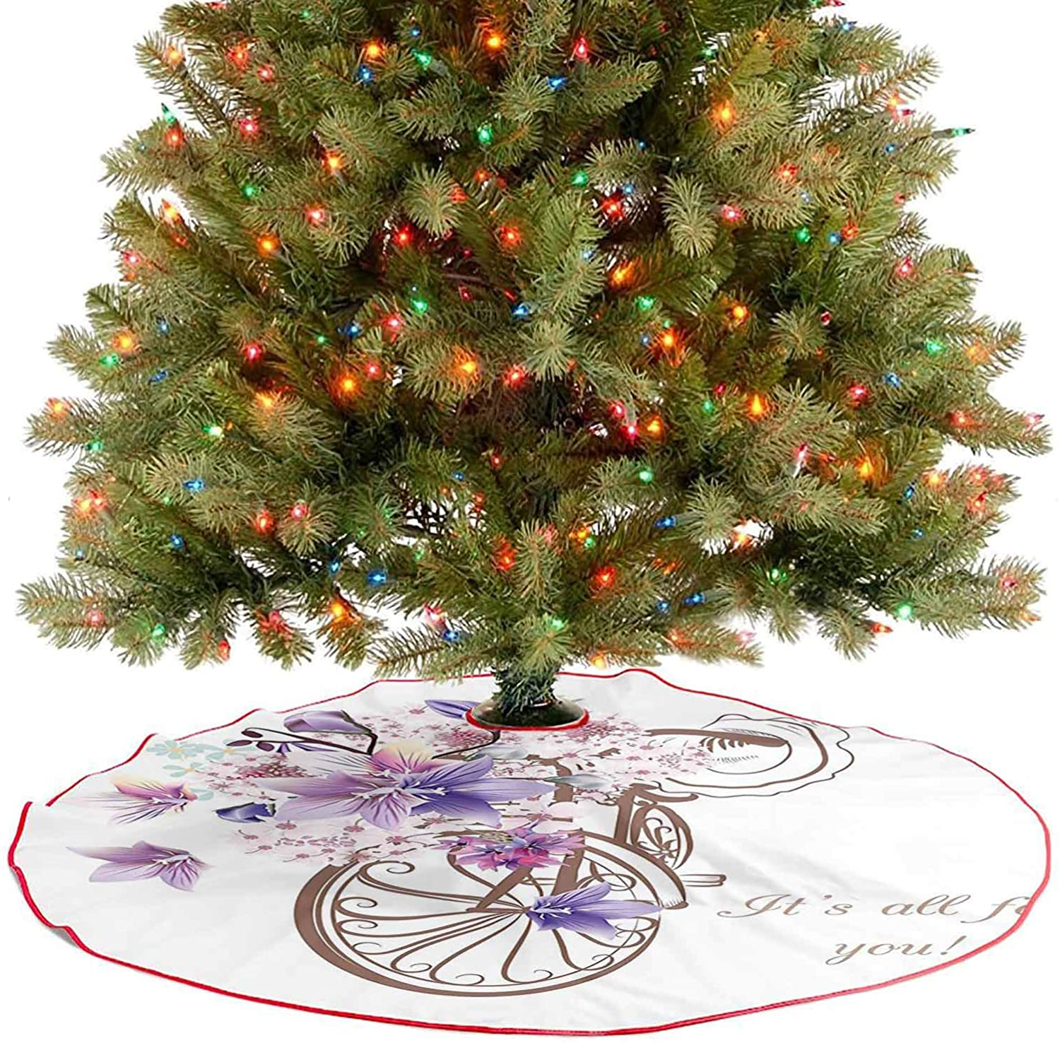 Adorise Tree Skirt with Basket of Flowers Vintage Spring Time Artwork Image Umber Lavander and Light Holiday Decor Ornaments for Christmas Tree Holiday DéCor - 30 Inch