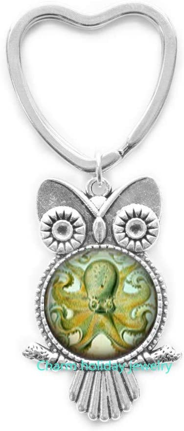 Octopus Owl Keychain,Nautical Silver Charm Owl Keychain,Owl Keychain Key Ring,Gift for Her,Teen Gift,Sea Animal Nautical Jewelry-#182