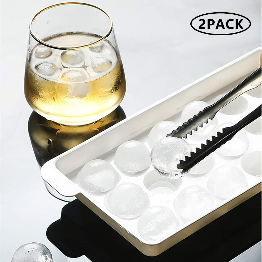 Rainmae 2 Pack Mini Ice Ball Tray Spheres, 36 Grid Easy Release Ice Cube Mold with Lid, Plastic Food-Grade Stackable Round Ice Ball Mold for Cocktail and Whiskey