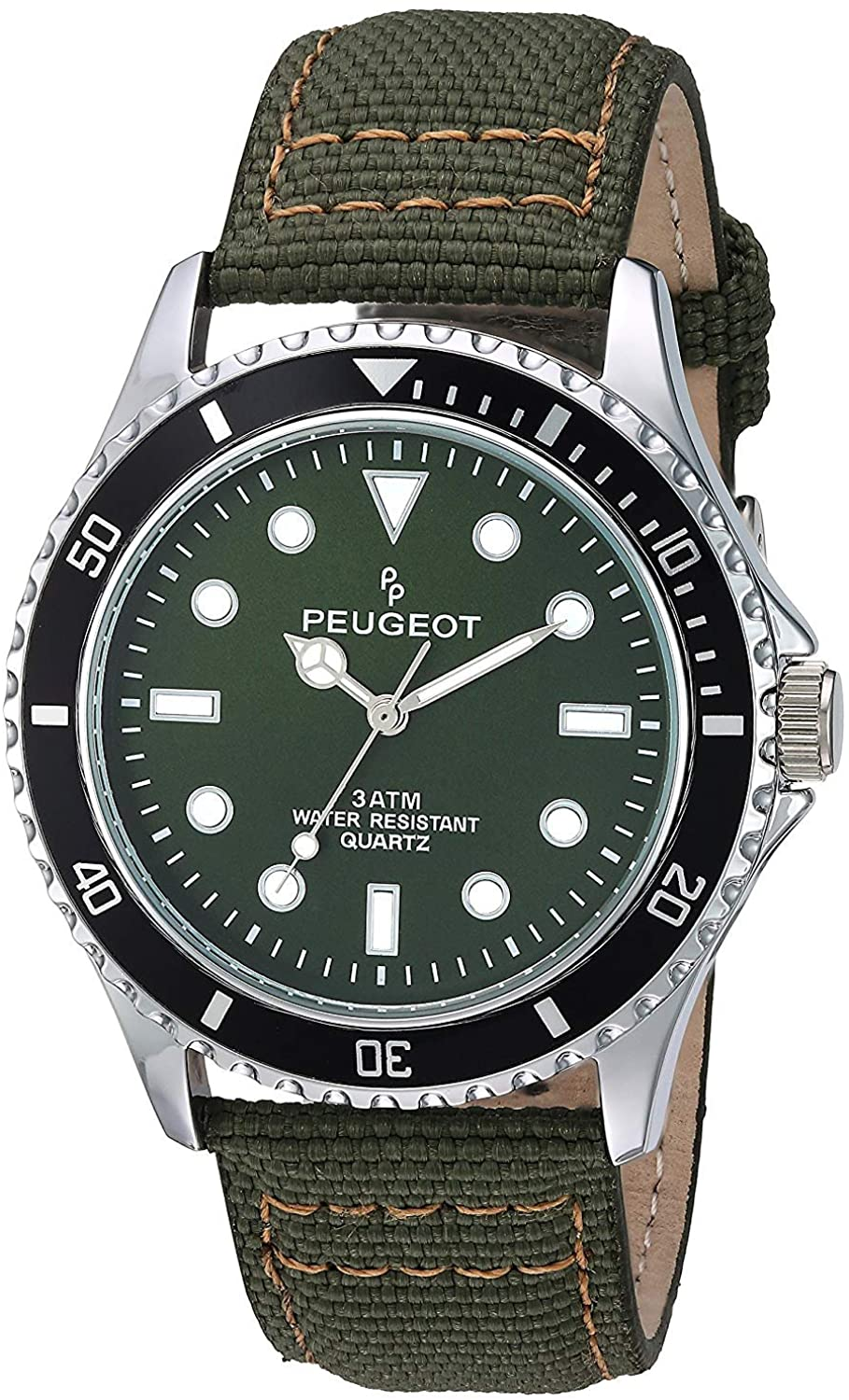 Peugeot Men's Sport Bezel Watch with Black Canvas Wrist Band