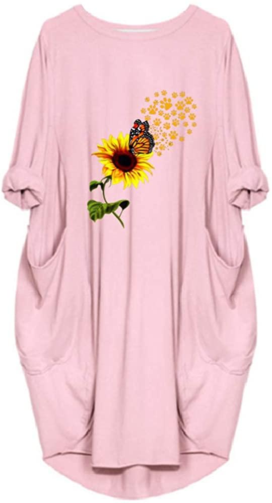 Beautisun Women's Printing T Shirt Dresses Crew Neck Long Sleeve Skirt Causal Loose Shirt Midi Dress with Pockets