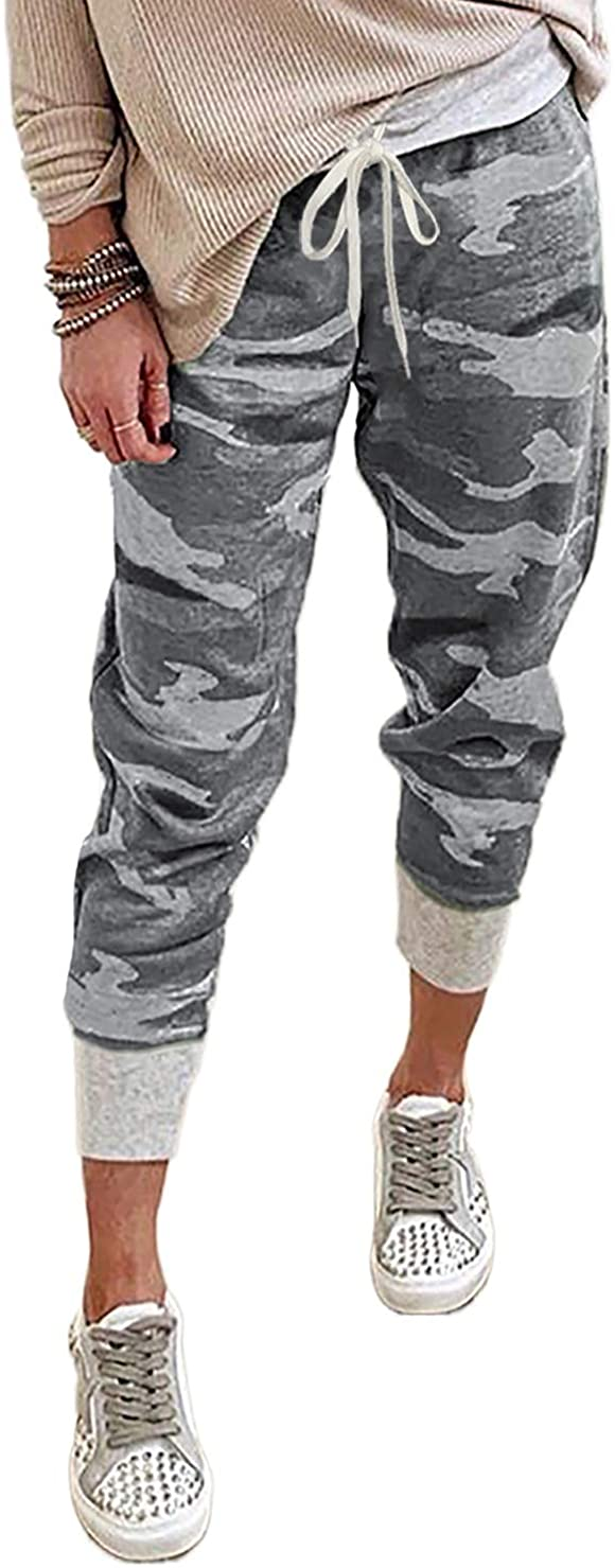 CILKOO Women Casual Drawstring Elastic Waist Drawstrings Jogger Sweatpants Stretch Lounge Pants with Pockets