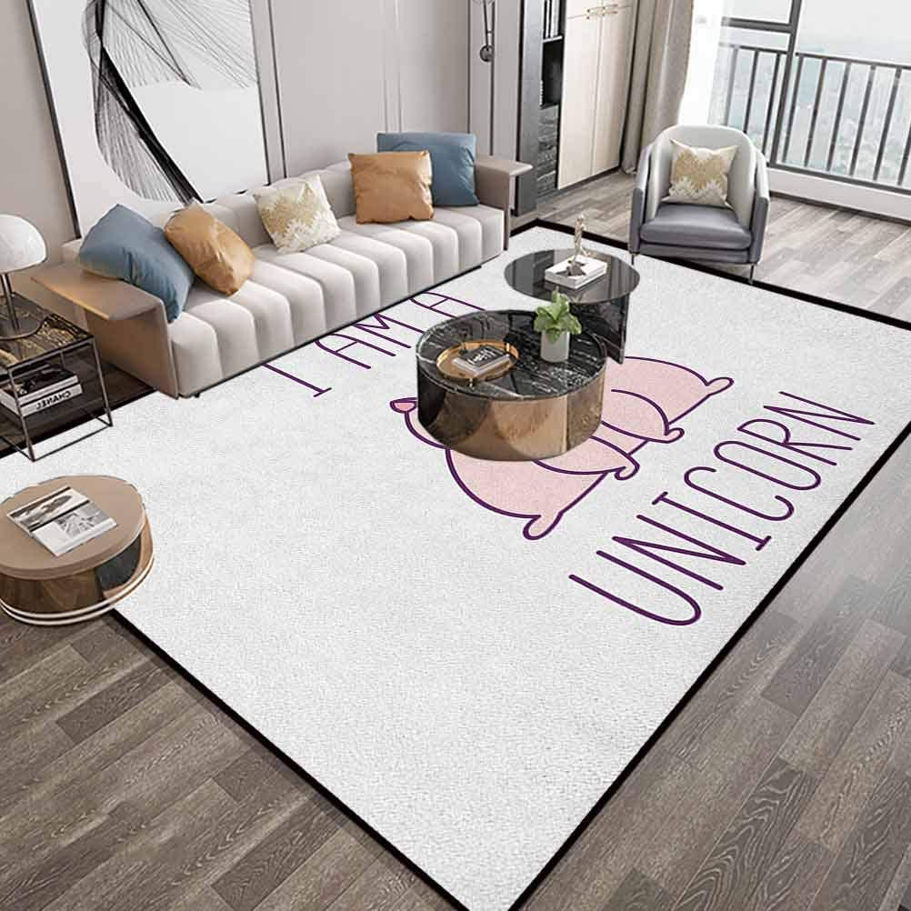 Unicorn Cat Area Carpets for Living Room 6X9 Feet,Fantasy Animal with I Am A Unicorn Quote Lovely Funny Fictive Kitten,Runner Floor Carpet with Lock-Edge & Non-Slip Bottom,Baby Pink Purple