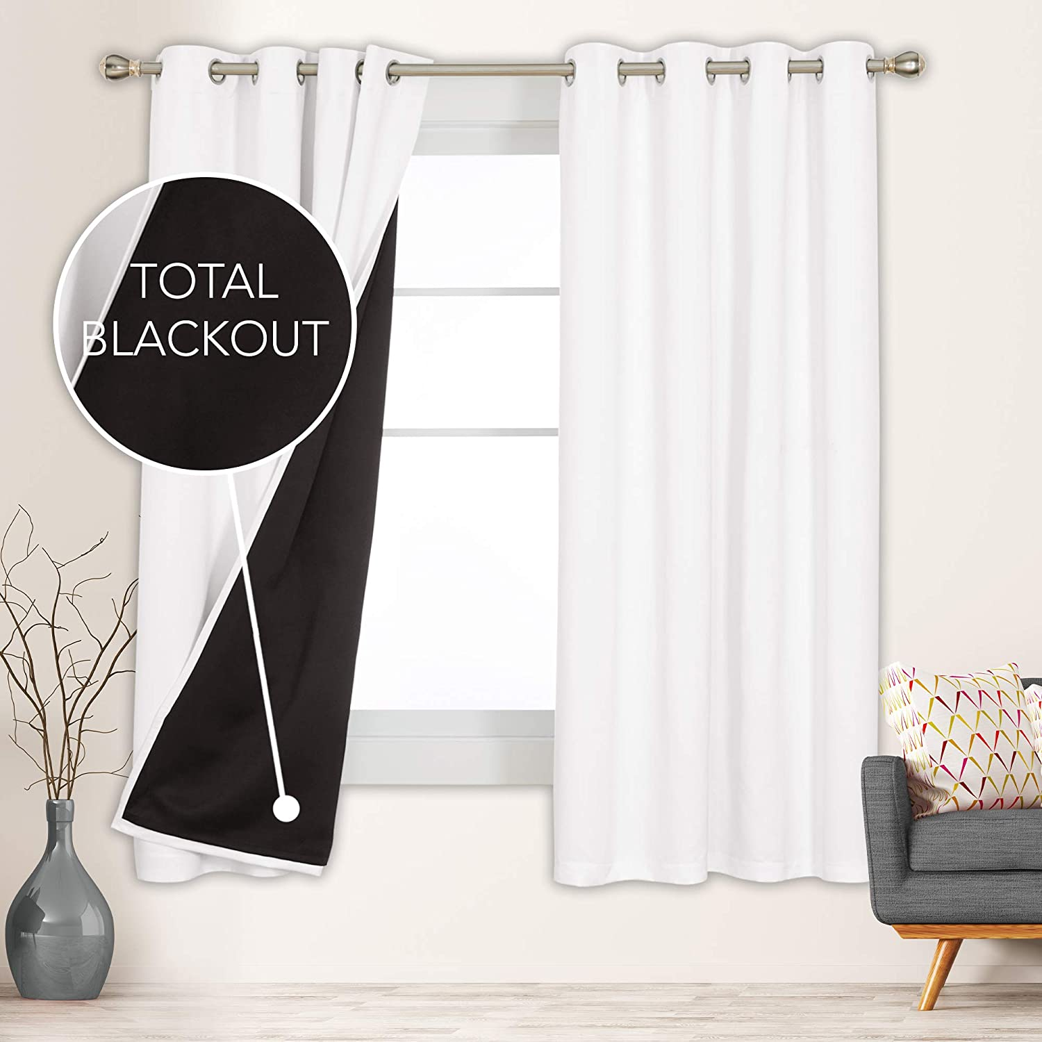 Deconovo Total Blackout Curtains 100% Light Blocking Double Layer Grommet Window Drapes Thermal Insulated Noise Cancellation for Bedroom Adult Kids Boy Girl Nursery, 1 Pair, 52x72 in, Pure White