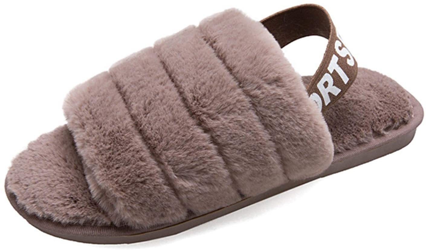 Fashion Slides Warm Slippers Sliders Autumn Indoor Wool Cloth with Soft Nap Shoes (Color : Black, Size : 24-24.5cm)