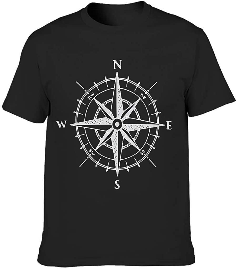Printed Men's Cotton T-Shirt Compass Popular Ultra Soft Retro Art Tee