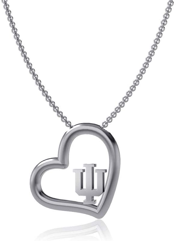 Dayna Designs Indiana University Heart Necklace - Silver, Hoosiers IU Logo - Sterling Silver Jewelry Small for Women/Girls
