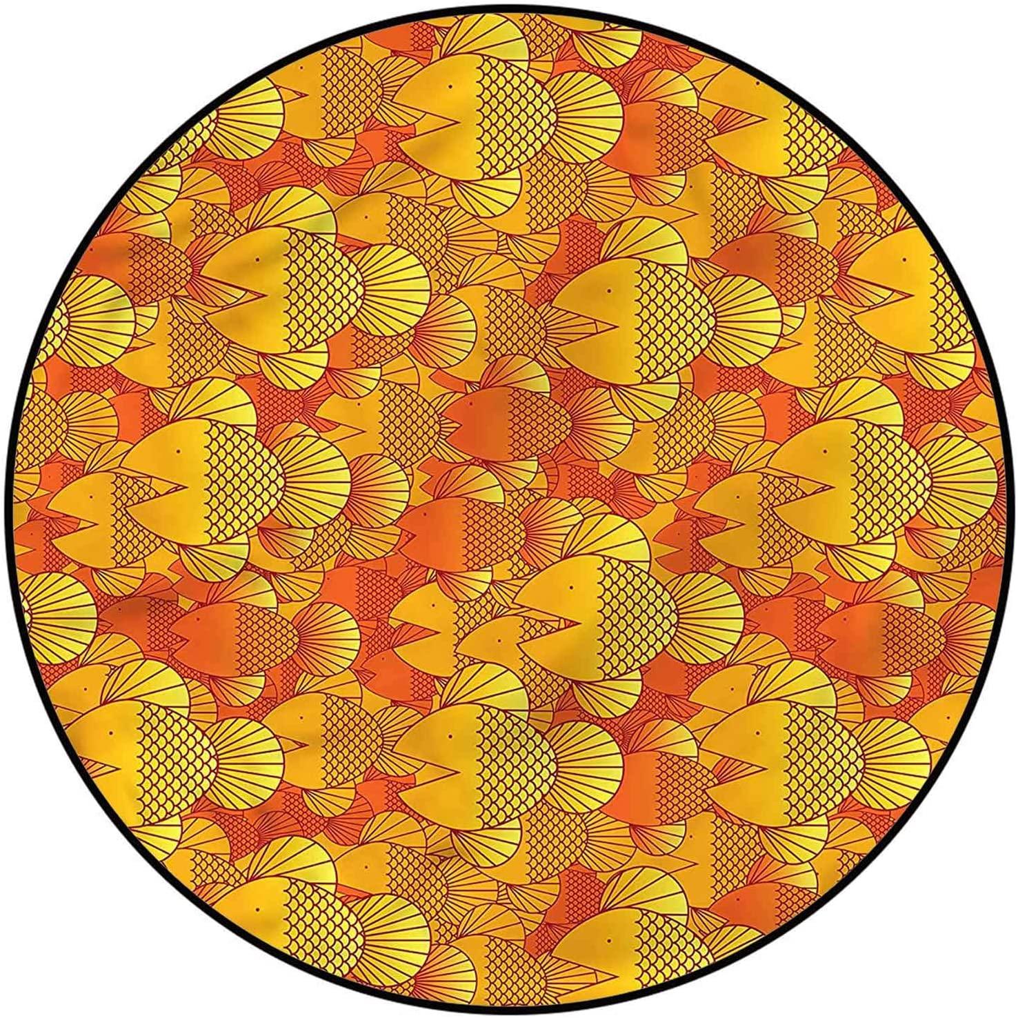 Burnt Orange Washable Rug 6 Ft, Swimming Goldfishes Custom Rug