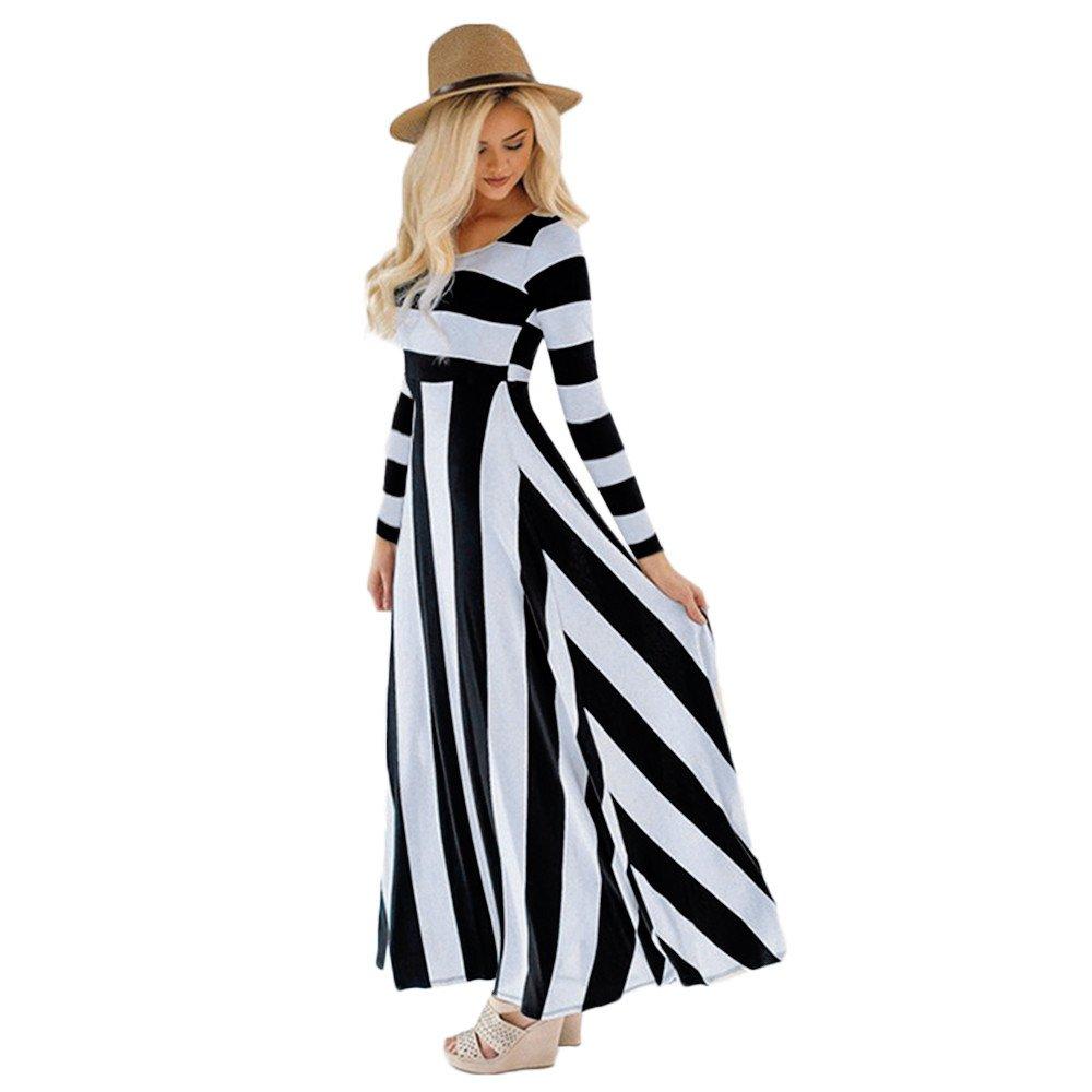 Dress Women Long Sleeve Striped Maxi Evening Party Womens Ponytail Black,Blue, Apricot S/M/L/XL Dress for Women