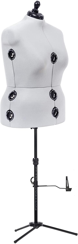 Dritz Twin-Fit Adjustable Dress Form, Full-Figure, Grey