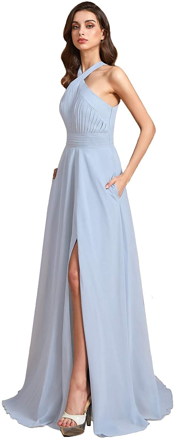 Stylefun Women's Halter Bridesmaid Dresses with Slit Chiffon Long A-line Formal Party Dresses with Pockets KN010