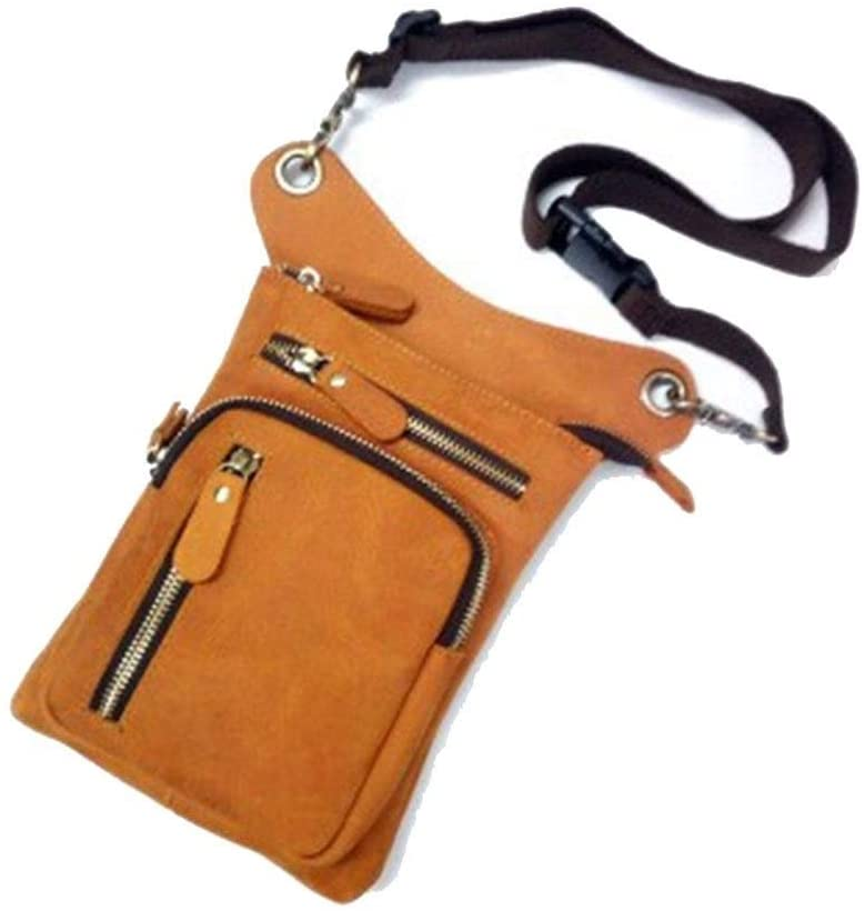 MING-MCZ Fashion Genuine Leather Messenger Crossbody Shoulder Bags for Men Travel Belt Fanny Pack Motorcycle Thigh Drop Leg Bag Male Waist Bags Durable (Color : Yellow, Size : S)