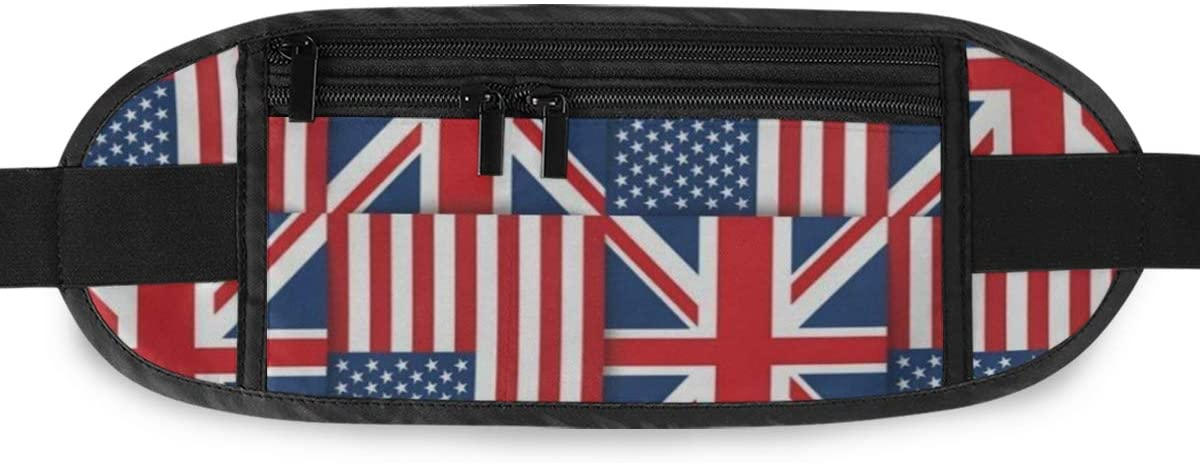 SLHFPX American Flag Union Jack Hidden Money Belt,Fanny Pack,Running Belt,Travel Wallet Pouch,Wasit Packs Bag,Passport Holder,Bum Bag,Belt Bags for Women Men