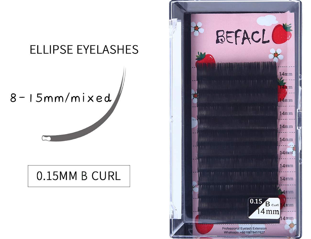 Ellipse Eyelash Extensions 0.15mm B Curl 8-21mm Mixed Flat Eyelash Extension supplies Matte Individual Eyelashes Salon Use Mink Lashes Extensions