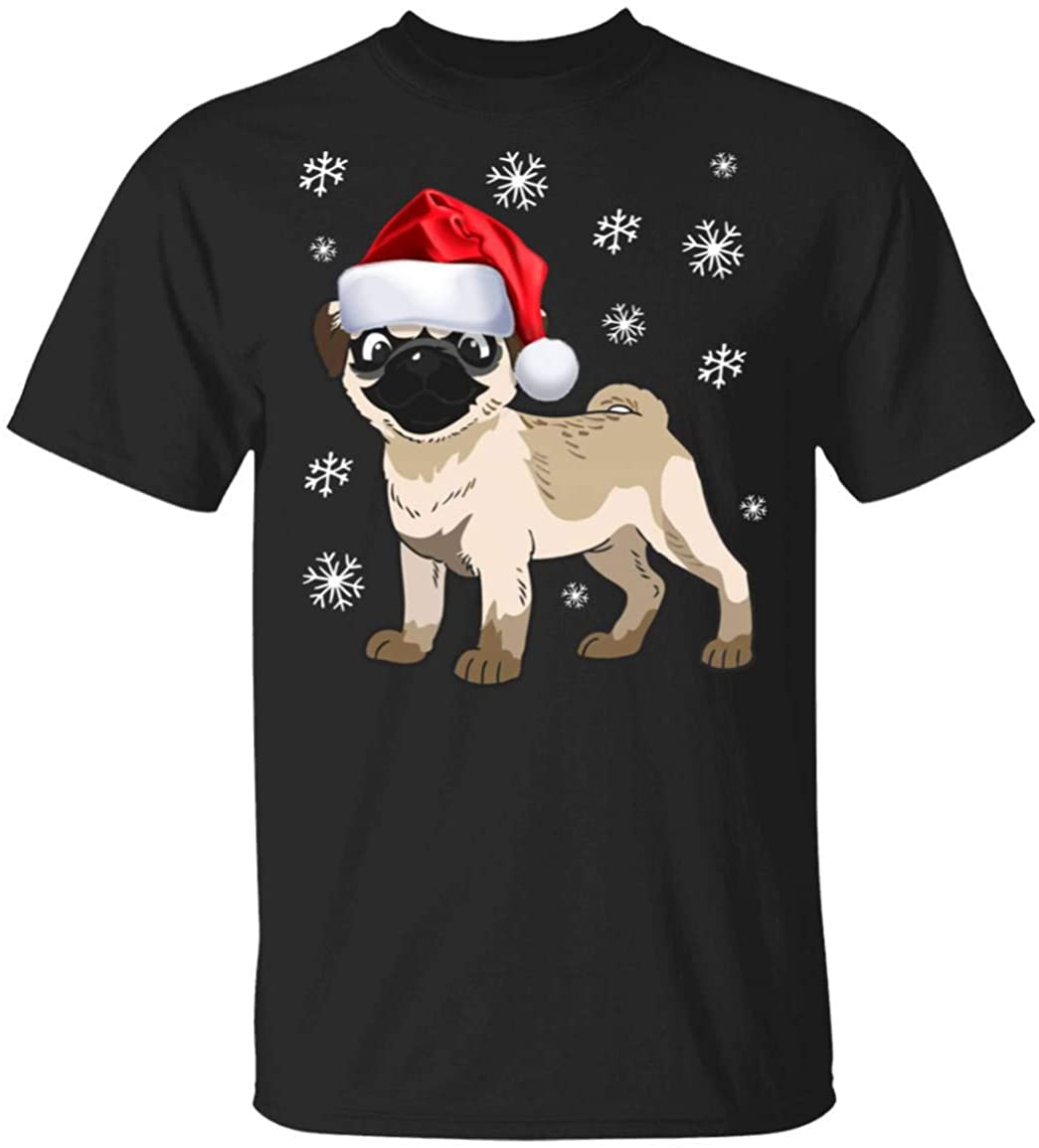 Cute Santas Hat Pug Puppy Pugmas Dog Pugs T-Shirt Hoodie Sweatershirt Custom