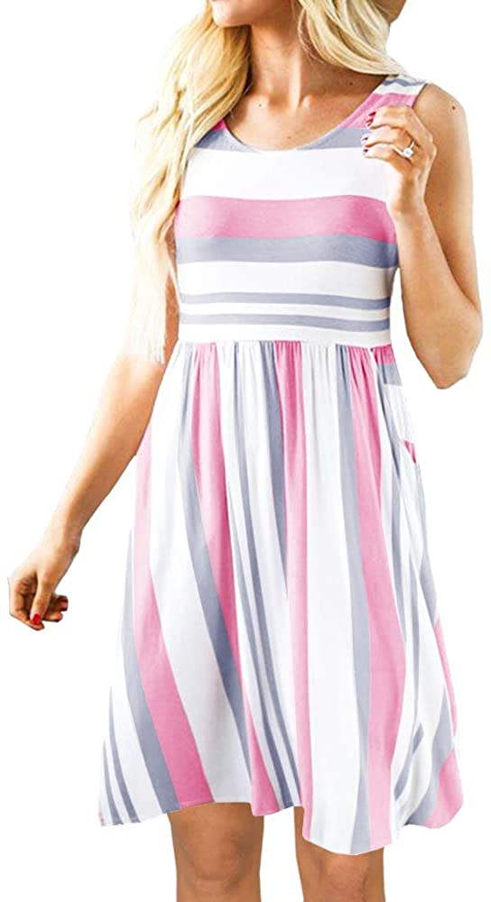 PAPOSON Women Casual Color Block Striped Dresses with Pockets Summer Sleeveless Swing T-Shirt Dress