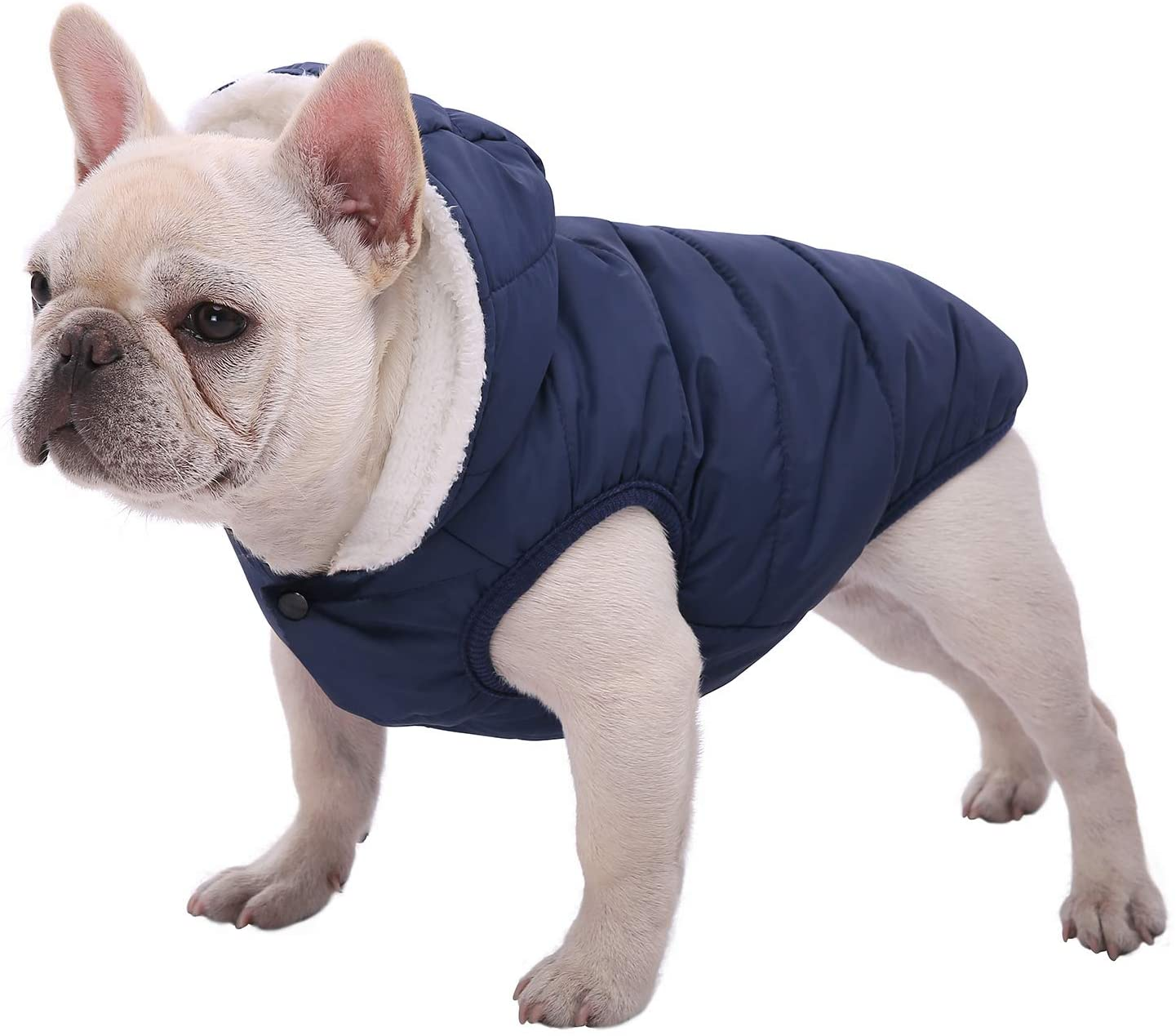 SAWMONG Dog Fleece Hoodie, Windproof Waterproof Dog Coat, Fleece & Cotton Lined Warm Dog Jacket, Cold Weather Pet Apparel Clothes Vest for Small Medium Large Dog Breeds
