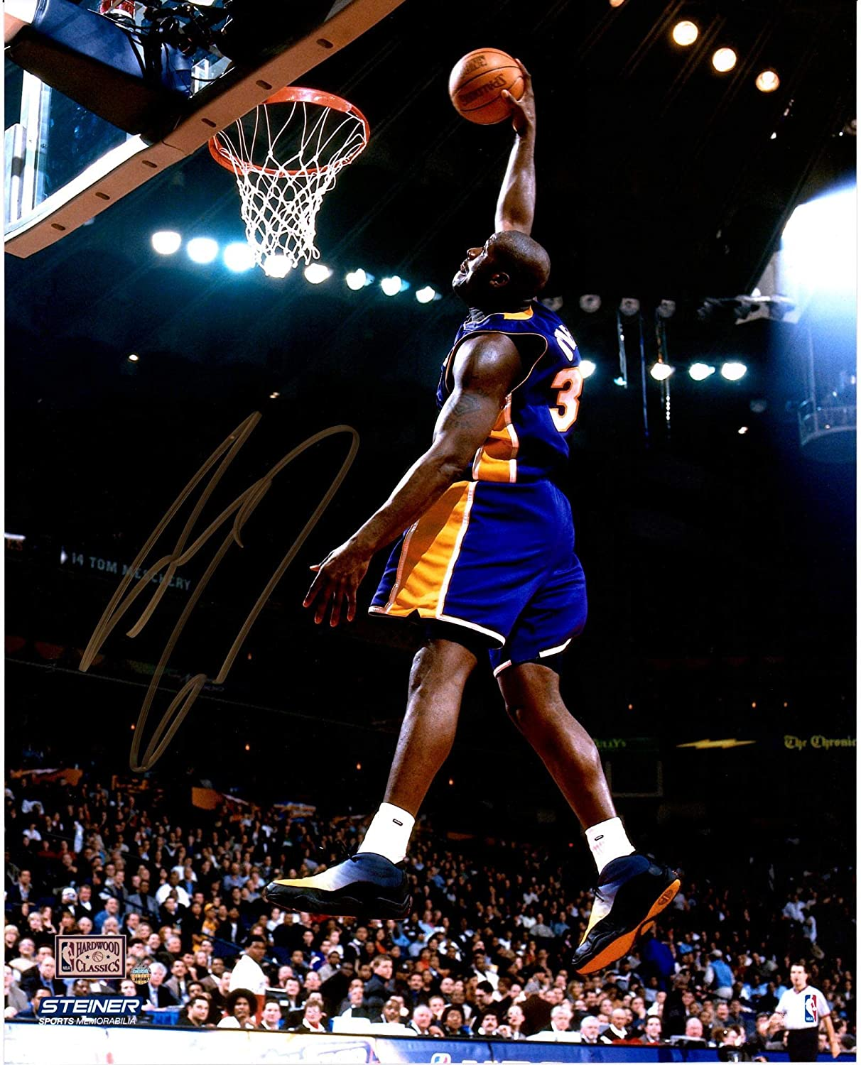 Shaquille ONeal Los Angeles Lakers Autographed 16 x 20 Dunk in Purple Photograph - Gold Ink - Autographed NBA Photos