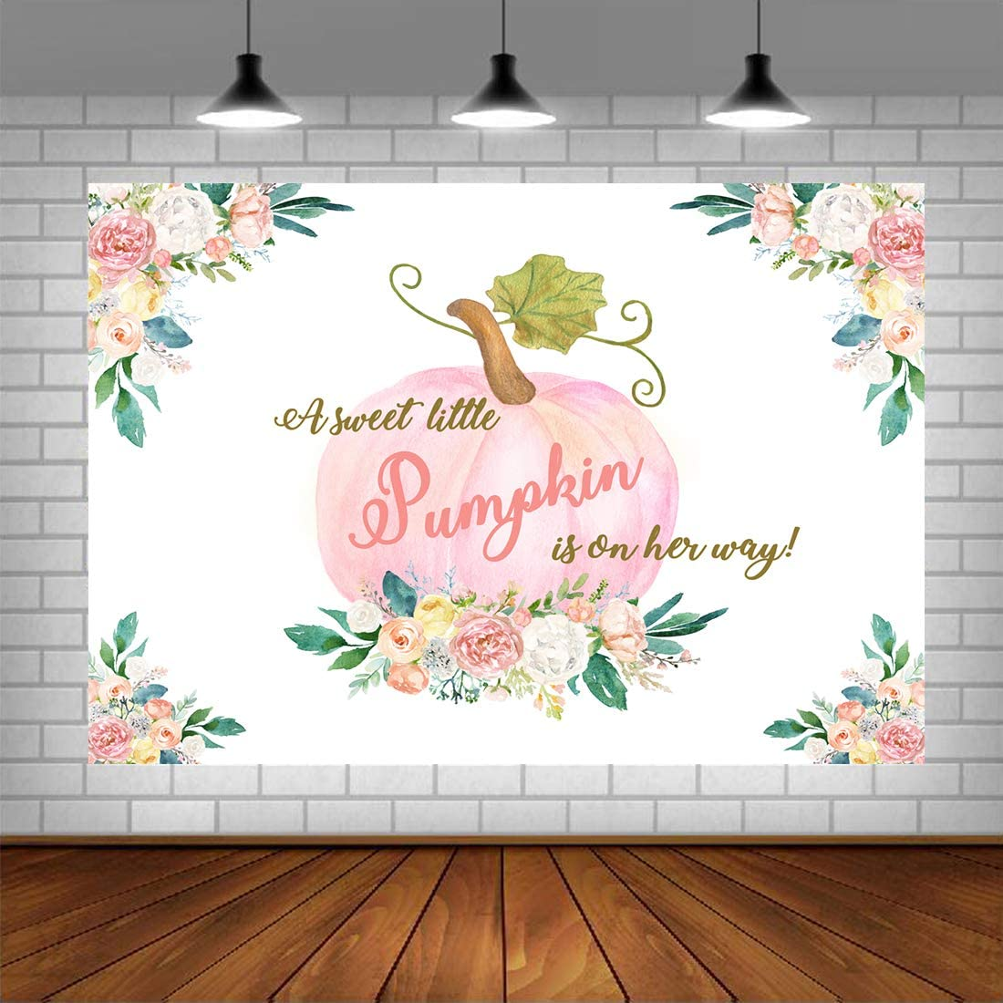Little Princess Pumpkin Baby Shower Backdrop Halloween Watercolor Pink Floral Baby Background Girl's Fall Autumn Thanksgiving Party Decorations Supplies 5x3ft