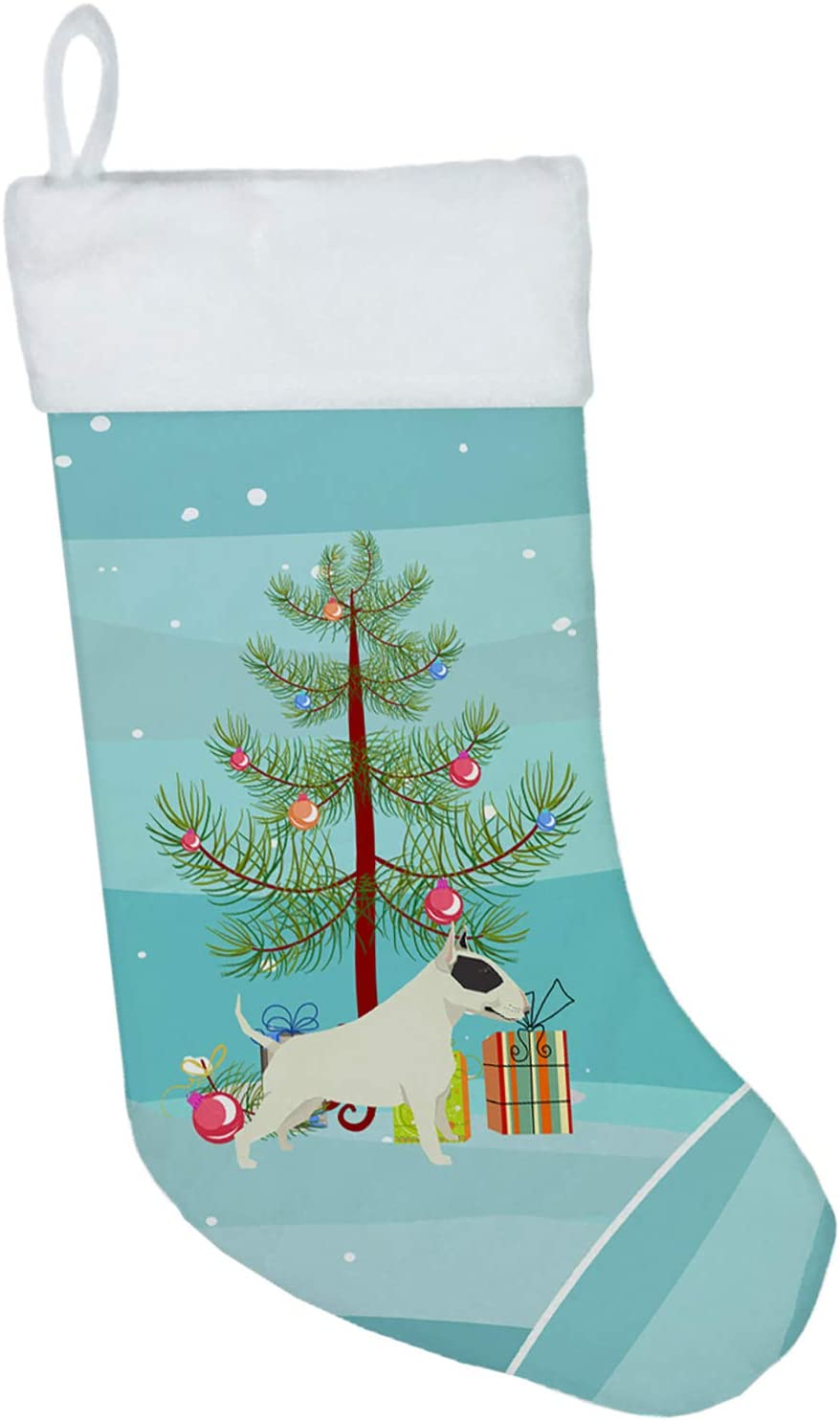 Carolines Treasures Black and White Bull Terrier Tree Christmas-Stockings, Multicolor