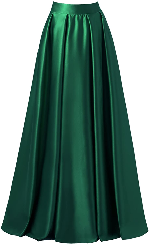 emondora Women High Waist Elastic Satin Flared Swing Maxi Skirt Pleat Prom Gown