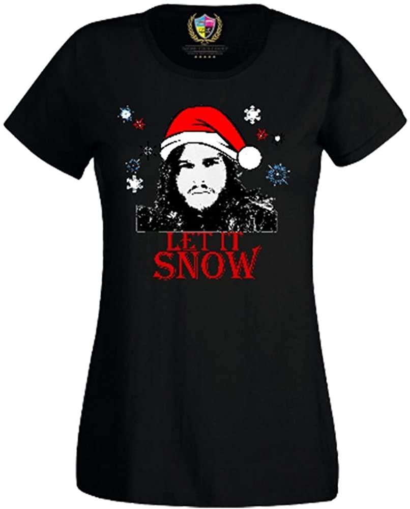 Adult Printed Funny T Shirts-Let it Snow-Xmas Santa Jon Snow-Game of Thrones tee