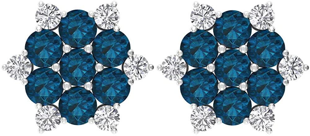 Cluster Stud Earrings, 2.04 CT Round Gemstone, HI-SI Diamond 3 MM London Blue Topaz Earrings, Gold Snowflake Earring Studs, Birthday Gift for Her, Screw back