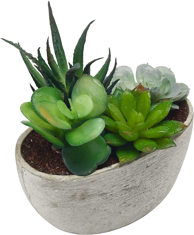MyGift Decorative Artificial Succulent Plant Arrangement with Oval Gray Pot