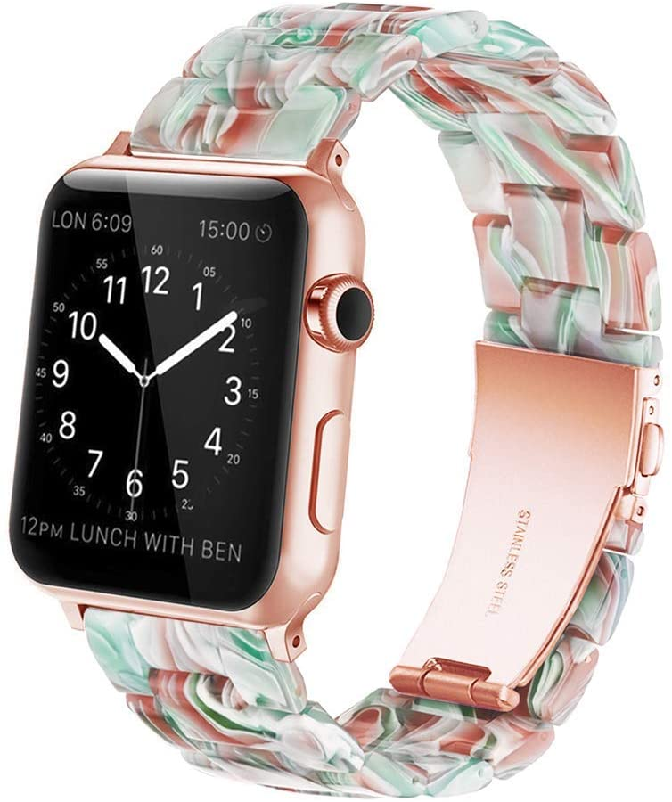 YGTIECS Resin Apple Watch Band Compatible with Apple Watch 38mm/40mm, top Resin Combine with Stainless Steel Connector for iwatch Band Series 6 5 4 3 2 1 for Women and Men-Emerald Red