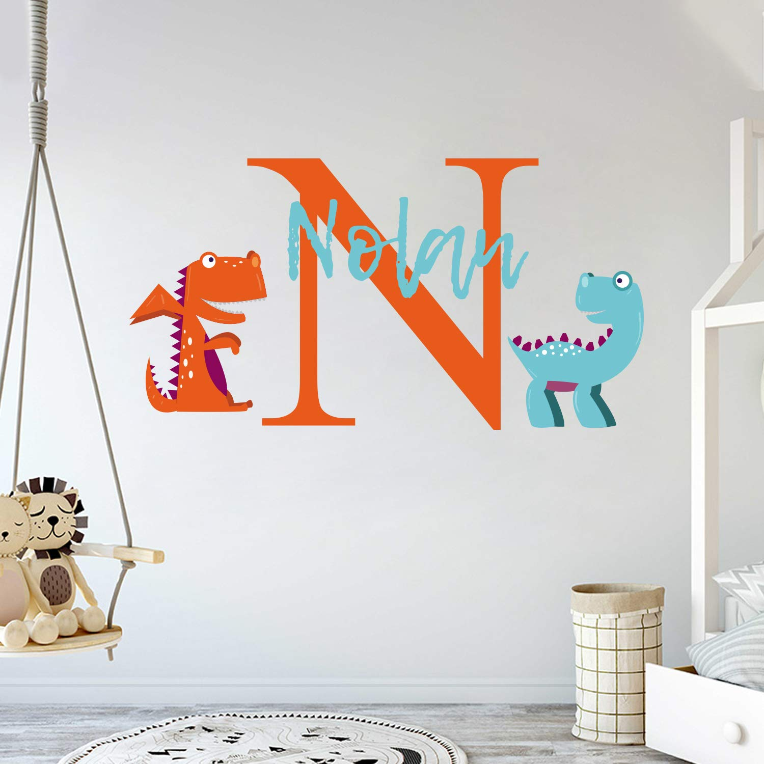 Personalized Name Cute Dinosaurs - Animal Series - Baby Boy Girl - Wall Decal Nursery for Home Bedroom Children (Wide 22